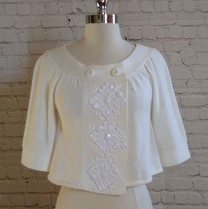 Tabitha jewel trim shrug cardigan sweater XS